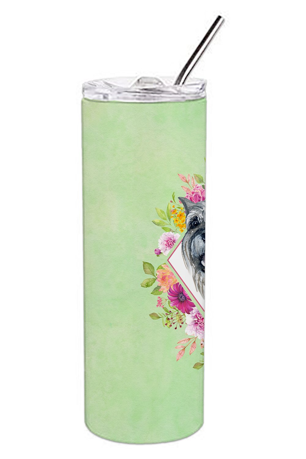 Schnauzer Green Flowers Double Walled Stainless Steel 20 oz Skinny Tumbler CK4339TBL20 by Caroline's Treasures