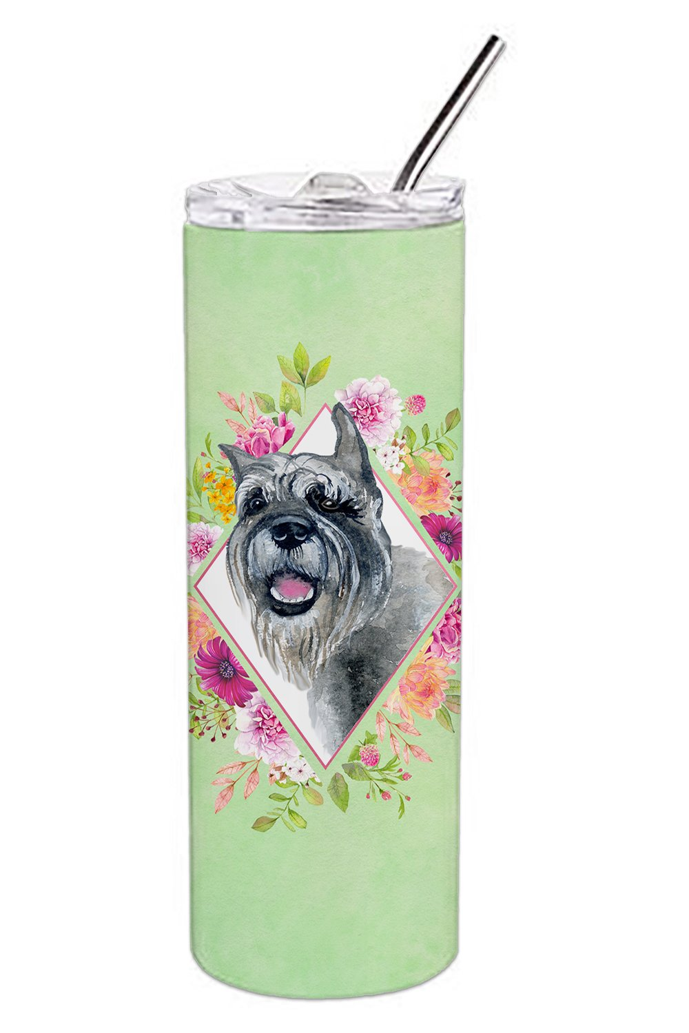Buy this Schnauzer Green Flowers Double Walled Stainless Steel 20 oz Skinny Tumbler CK4339TBL20