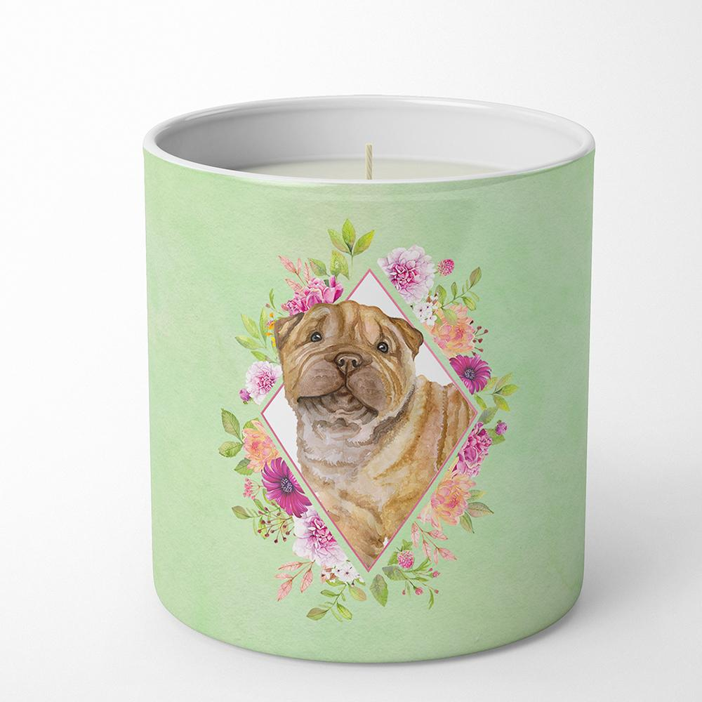 Shar Pei Green Flowers 10 oz Decorative Soy Candle CK4341CDL by Caroline's Treasures