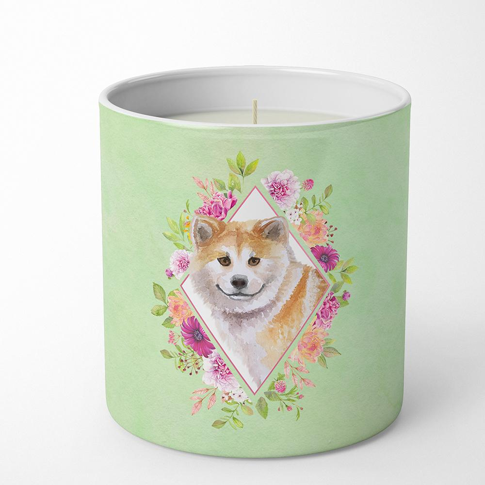 Shiba Inu Green Flowers 10 oz Decorative Soy Candle CK4343CDL by Caroline's Treasures