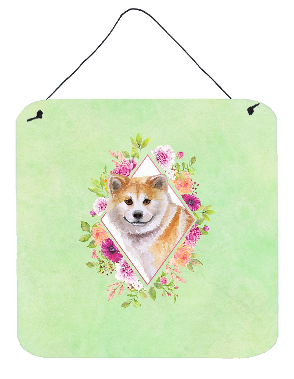 Shiba Inu Green Flowers Wall or Door Hanging Prints CK4343DS66 by Caroline's Treasures