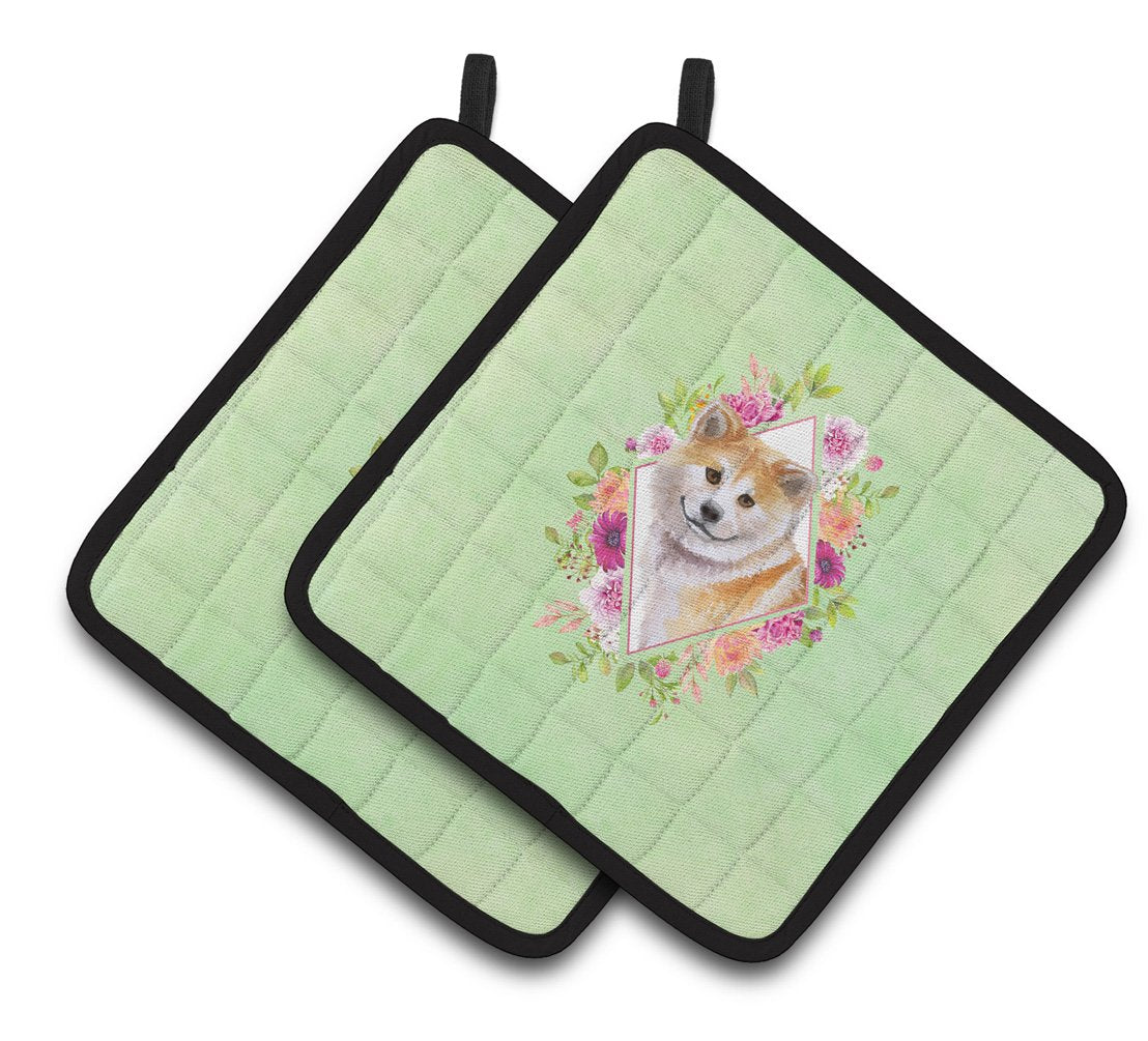 Shiba Inu Green Flowers Pair of Pot Holders CK4343PTHD by Caroline's Treasures