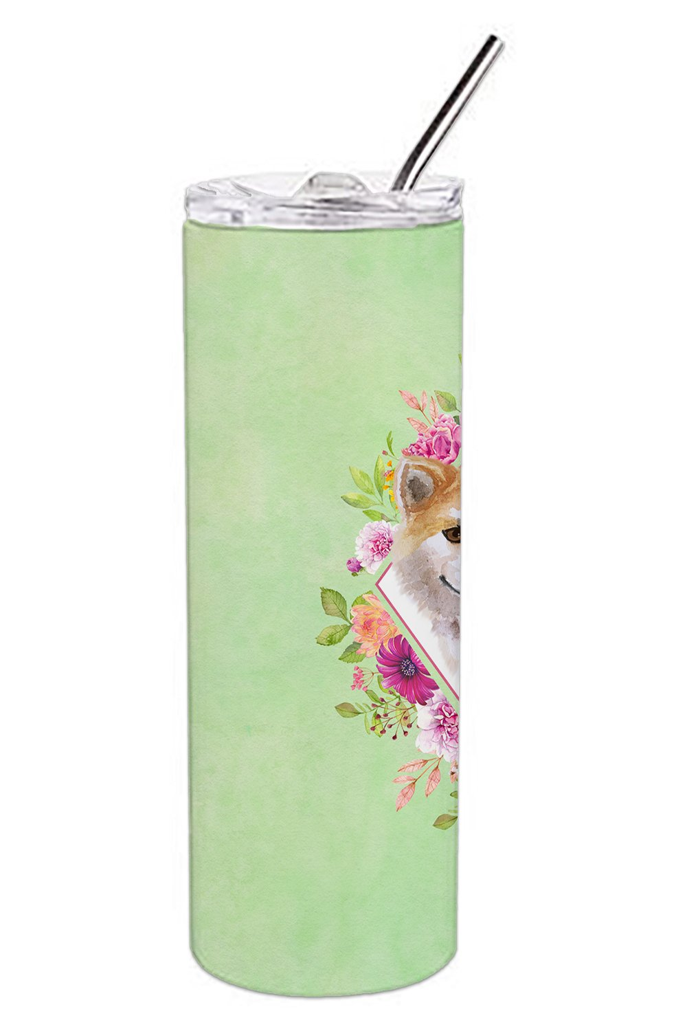 Shiba Inu Green Flowers Double Walled Stainless Steel 20 oz Skinny Tumbler CK4343TBL20 by Caroline's Treasures