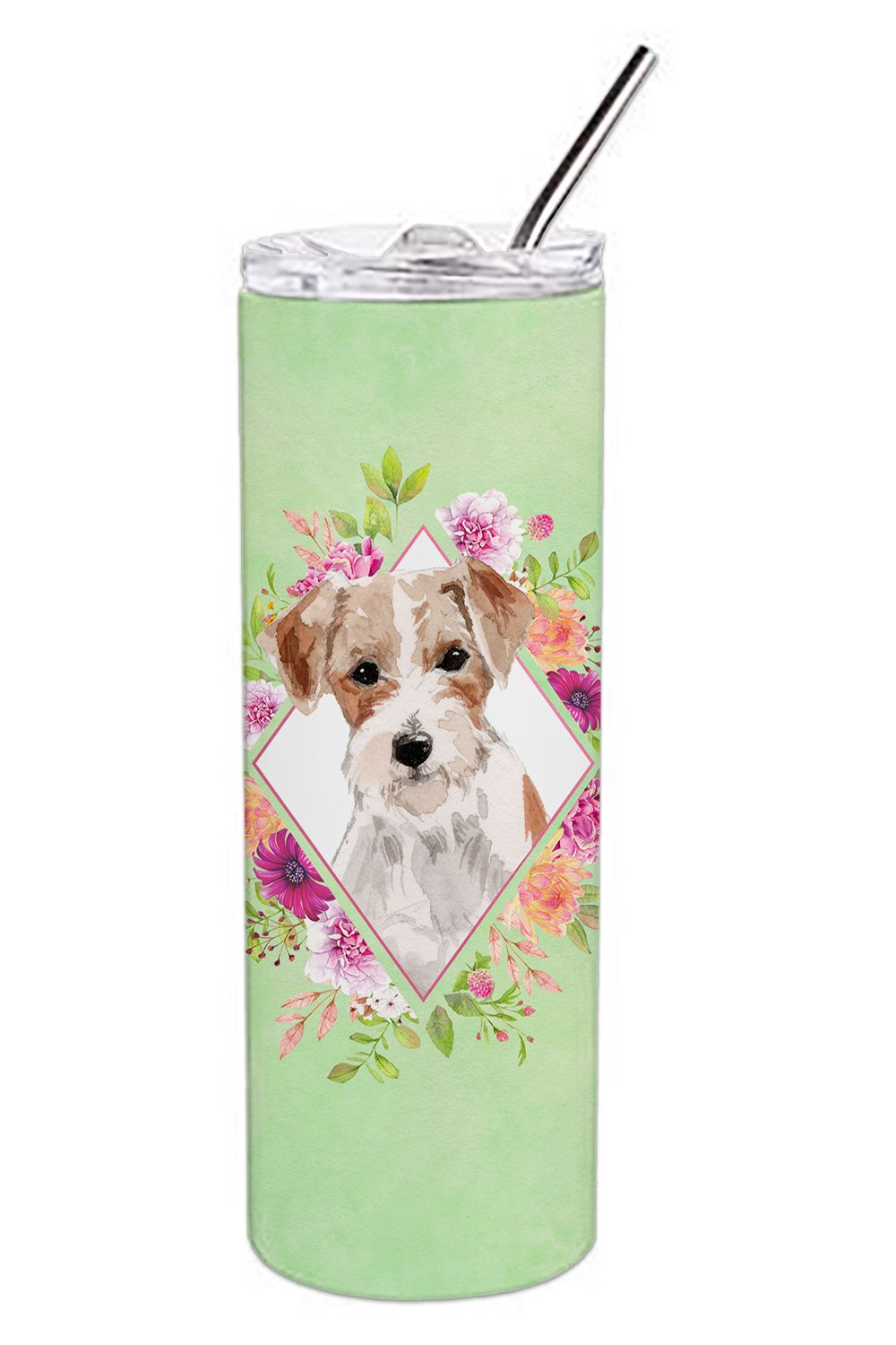 Jack Russell Terrier Green Flowers Double Walled Stainless Steel 20 oz Skinny Tumbler CK4358TBL20 by Caroline's Treasures