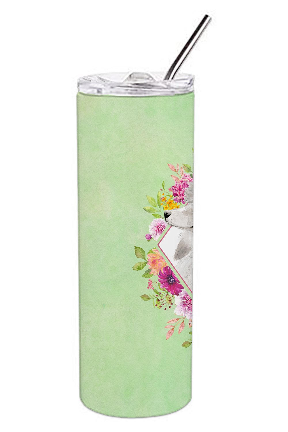 White Standard Poodle Green Flowers Double Walled Stainless Steel 20 oz Skinny Tumbler CK4360TBL20 by Caroline's Treasures