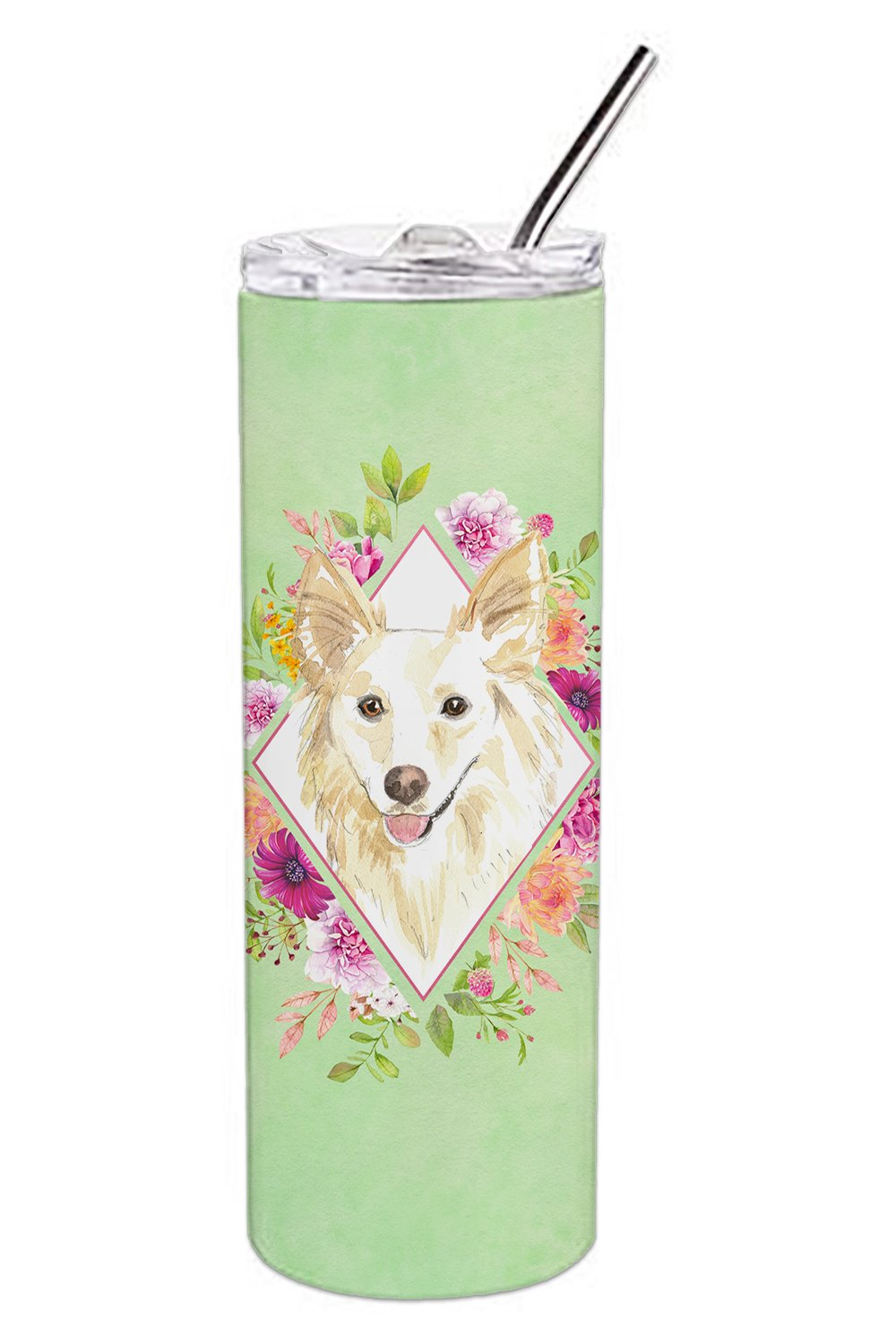 White Collie Green Flowers Double Walled Stainless Steel 20 oz Skinny Tumbler CK4361TBL20 by Caroline's Treasures