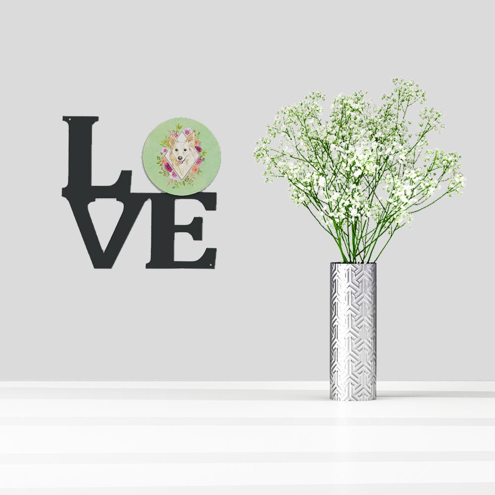White Collie Green Flowers Metal Wall Artwork LOVE CK4361WALV by Caroline's Treasures