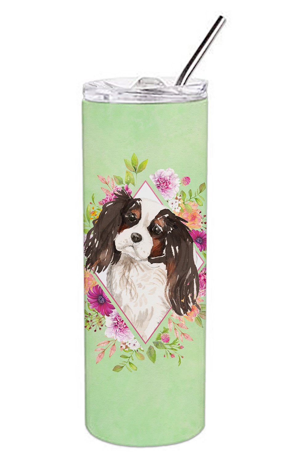 Buy this Tricolor Cavalier Spaniel Green Flowers Double Walled Stainless Steel 20 oz Skinny Tumbler CK4366TBL20