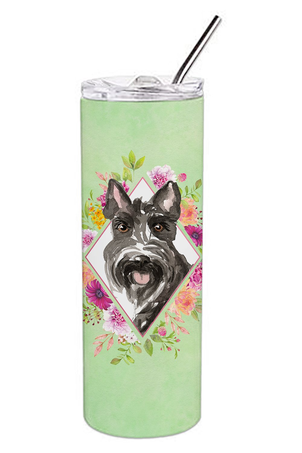 Scottish Terrier Green Flowers Double Walled Stainless Steel 20 oz Skinny Tumbler CK4374TBL20 by Caroline's Treasures
