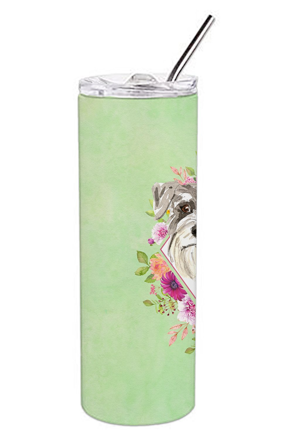 Schnauzer #1 Green Flowers Double Walled Stainless Steel 20 oz Skinny Tumbler CK4375TBL20 by Caroline's Treasures