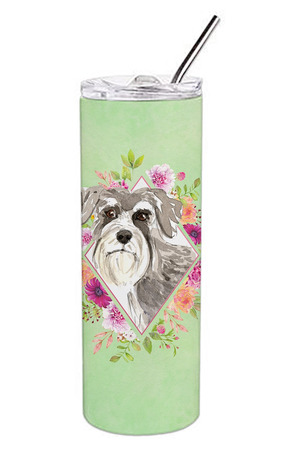 Buy this Schnauzer #1 Green Flowers Double Walled Stainless Steel 20 oz Skinny Tumbler CK4375TBL20
