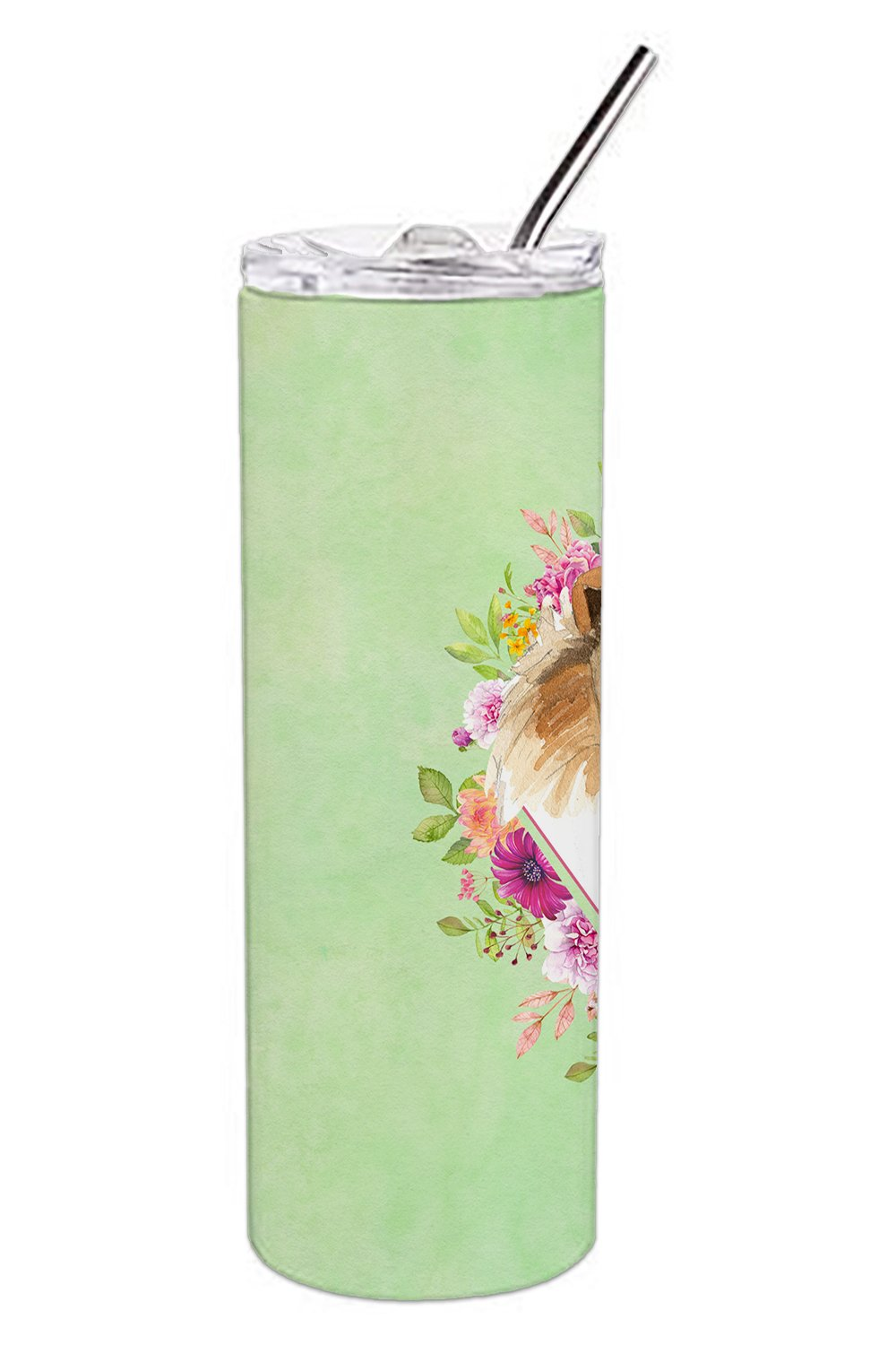Collie Green Flowers Double Walled Stainless Steel 20 oz Skinny Tumbler CK4376TBL20 by Caroline's Treasures
