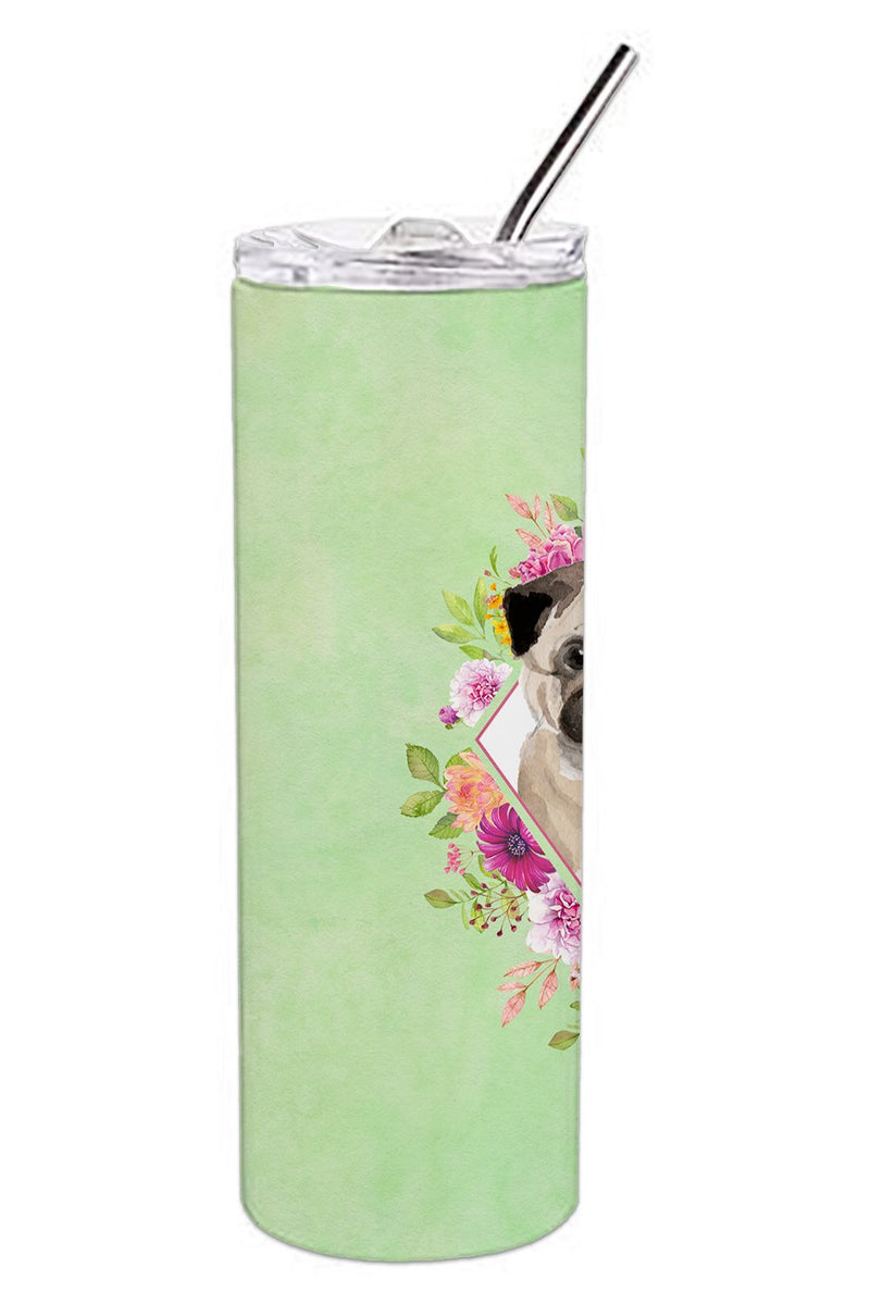 Buy this Fawn Pug Green Flowers Double Walled Stainless Steel 20 oz Skinny Tumbler CK4378TBL20