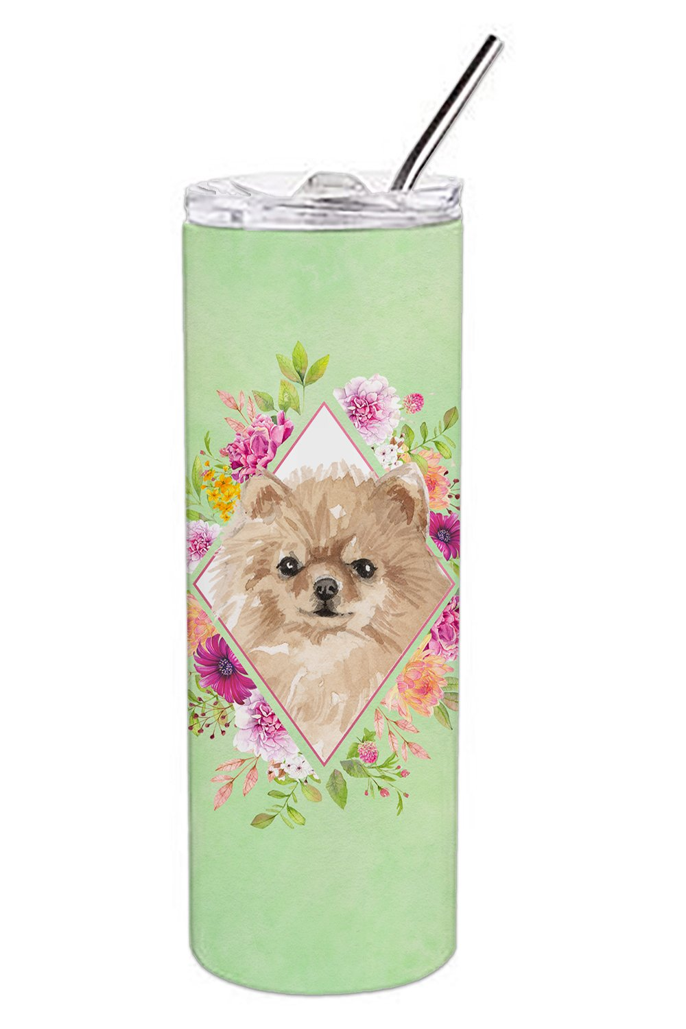 Pomeranian Green Flowers Double Walled Stainless Steel 20 oz Skinny Tumbler CK4379TBL20 by Caroline's Treasures