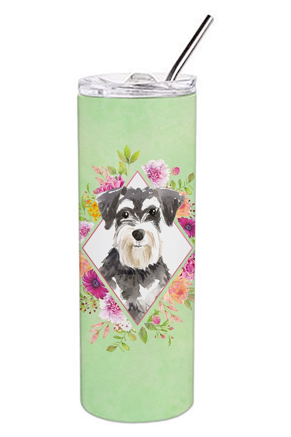 Schnauzer #2 Green Flowers Double Walled Stainless Steel 20 oz Skinny Tumbler CK4382TBL20 by Caroline's Treasures