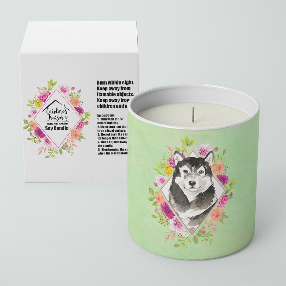 Alaskan Malamute Green Flowers 10 oz Decorative Soy Candle CK4384CDL by Caroline's Treasures