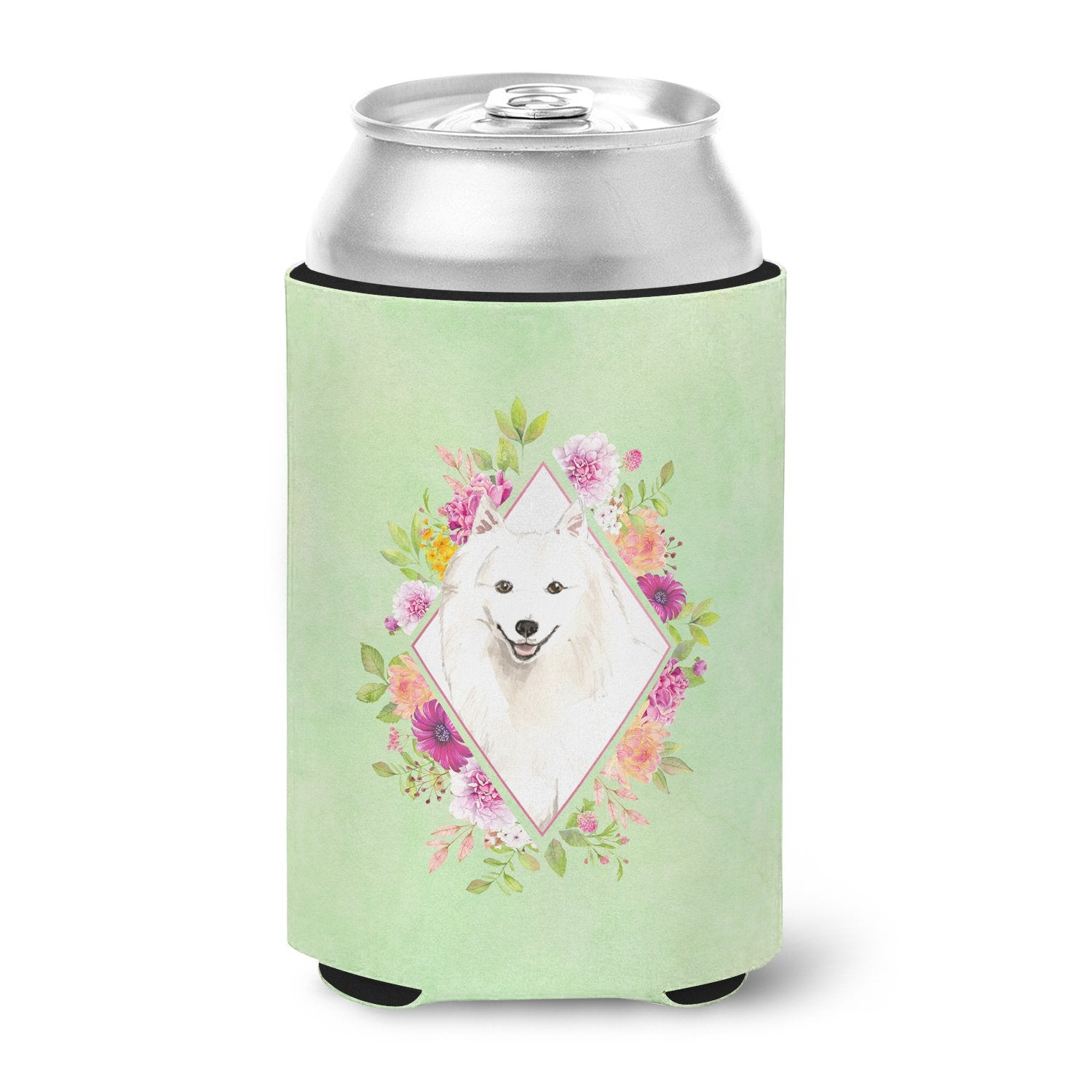 Buy this Japanese Spitz Green Flowers Can or Bottle Hugger CK4389CC