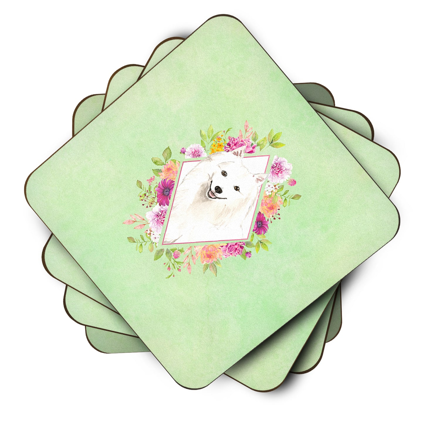 Set of 4 Japanese Spitz Green Flowers Foam Coasters Set of 4 CK4389FC by Caroline's Treasures