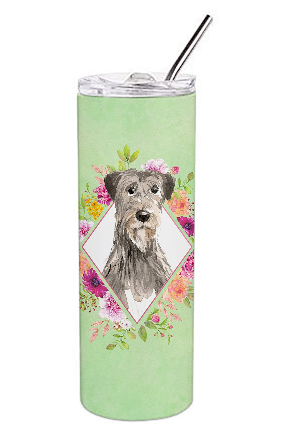 Buy this Irish Wolfhound Green Flowers Double Walled Stainless Steel 20 oz Skinny Tumbler CK4391TBL20