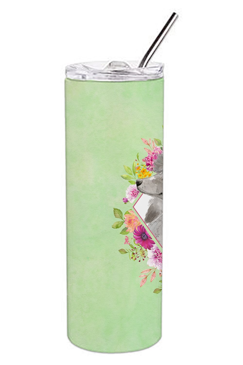 Grey Standard Poodle Green Flowers Double Walled Stainless Steel 20 oz Skinny Tumbler CK4393TBL20 by Caroline's Treasures