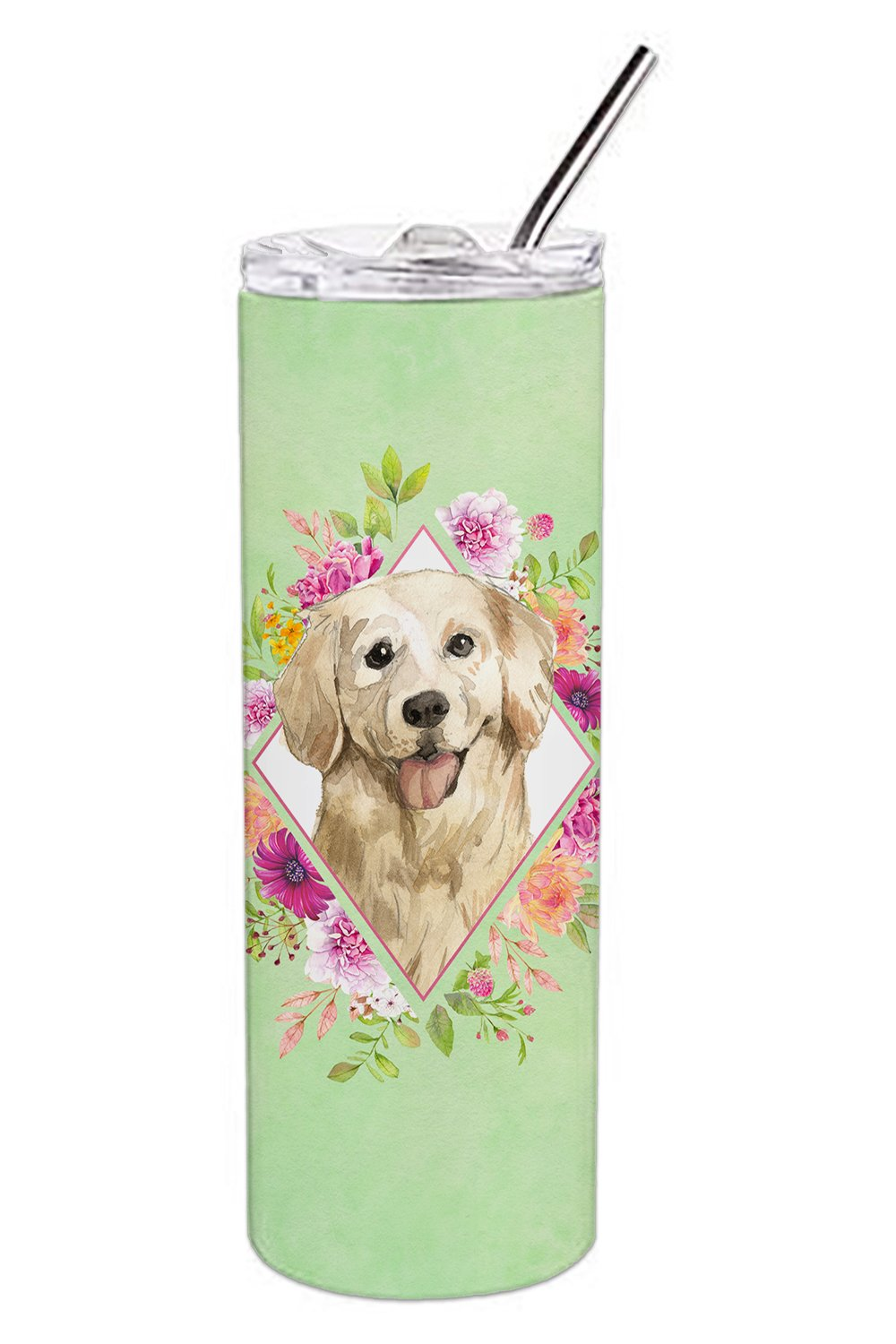 Golden Retriever Green Flowers Double Walled Stainless Steel 20 oz Skinny Tumbler CK4395TBL20 by Caroline's Treasures