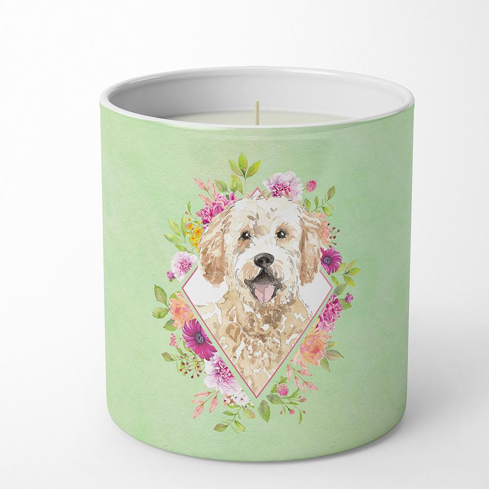 Goldendoodle Green Flowers 10 oz Decorative Soy Candle CK4396CDL by Caroline's Treasures