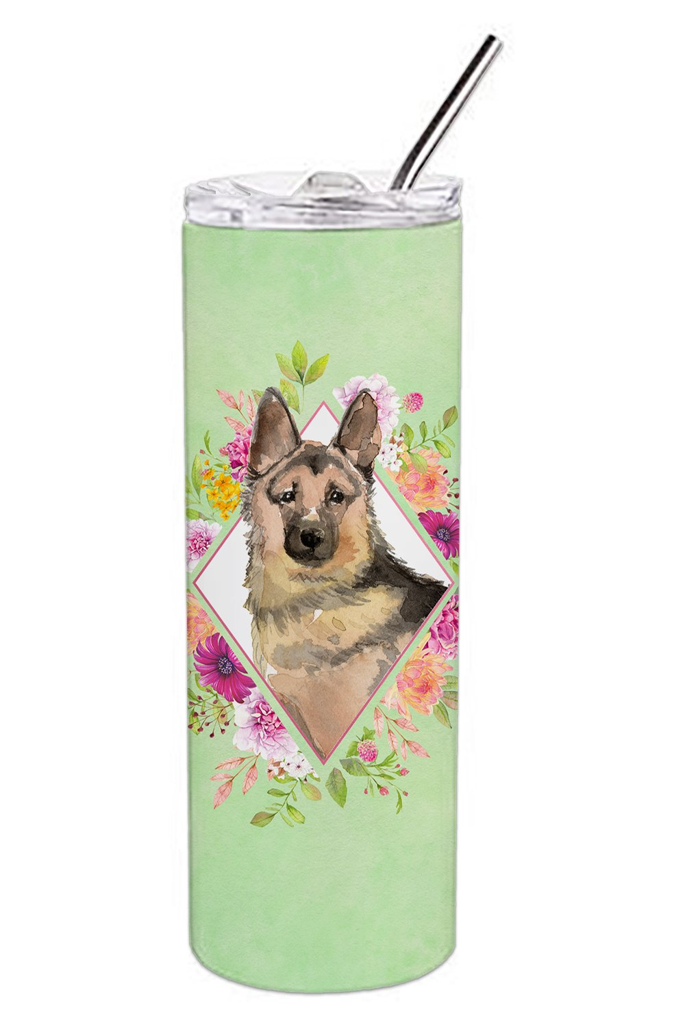German Shepherd Green Flowers Double Walled Stainless Steel 20 oz Skinny Tumbler CK4397TBL20 by Caroline's Treasures
