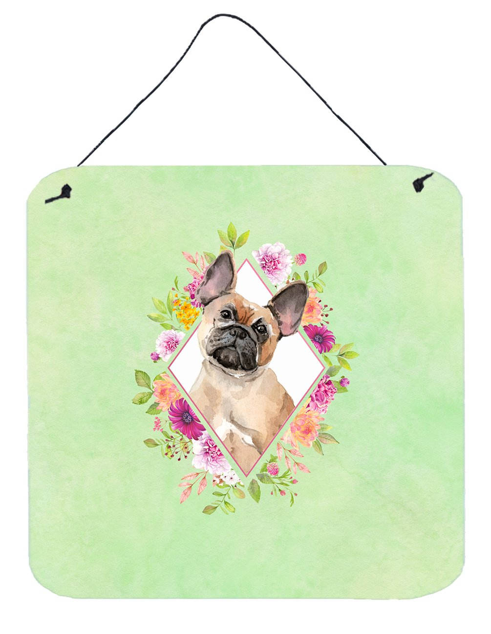 Buy this Fawn French Bulldog Green Flowers Wall or Door Hanging Prints CK4398DS66