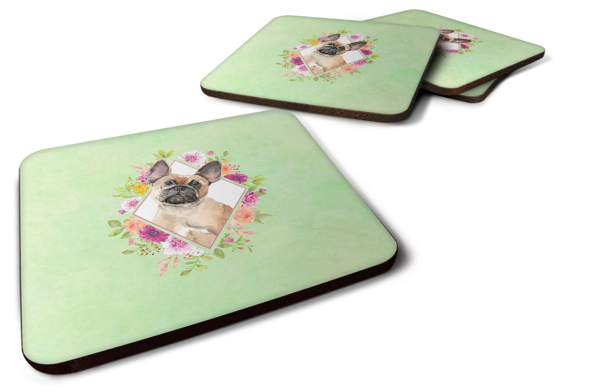 Buy this Set of 4 Fawn French Bulldog Green Flowers Foam Coasters Set of 4 CK4398FC