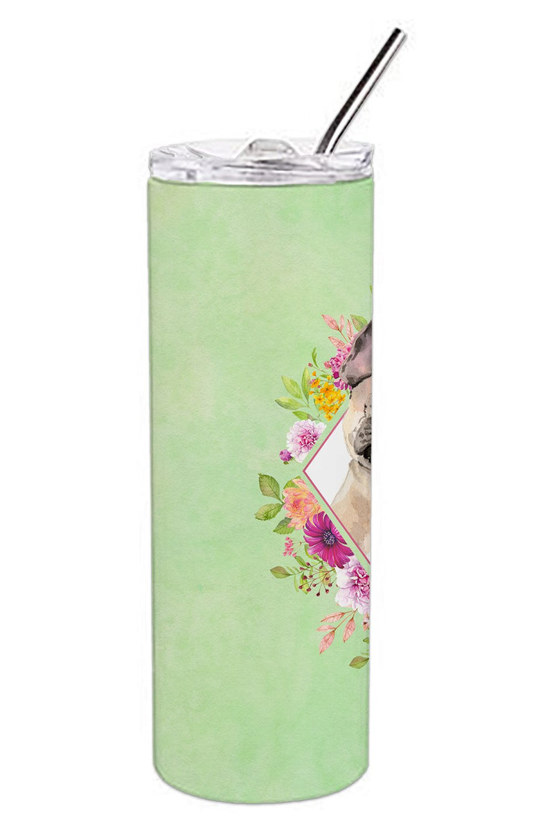 Buy this Fawn French Bulldog Green Flowers Double Walled Stainless Steel 20 oz Skinny Tumbler CK4398TBL20