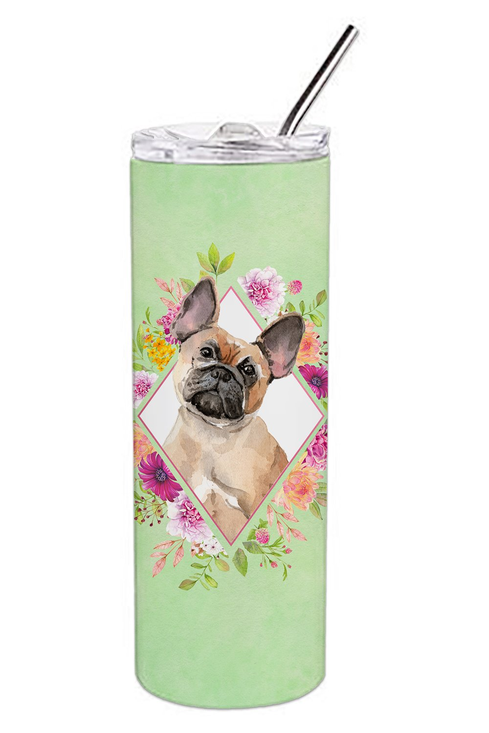 Fawn French Bulldog Green Flowers Double Walled Stainless Steel 20 oz Skinny Tumbler CK4398TBL20 by Caroline's Treasures