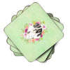 Set of 4 English Pointer Green Flowers Foam Coasters Set of 4 CK4399FC