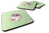 Buy this Set of 4 English Pointer Green Flowers Foam Coasters Set of 4 CK4399FC