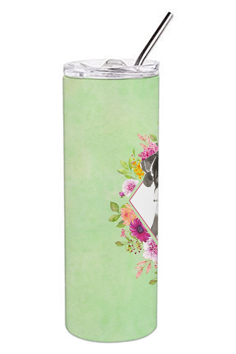 Buy this English Pointer Green Flowers Double Walled Stainless Steel 20 oz Skinny Tumbler CK4399TBL20