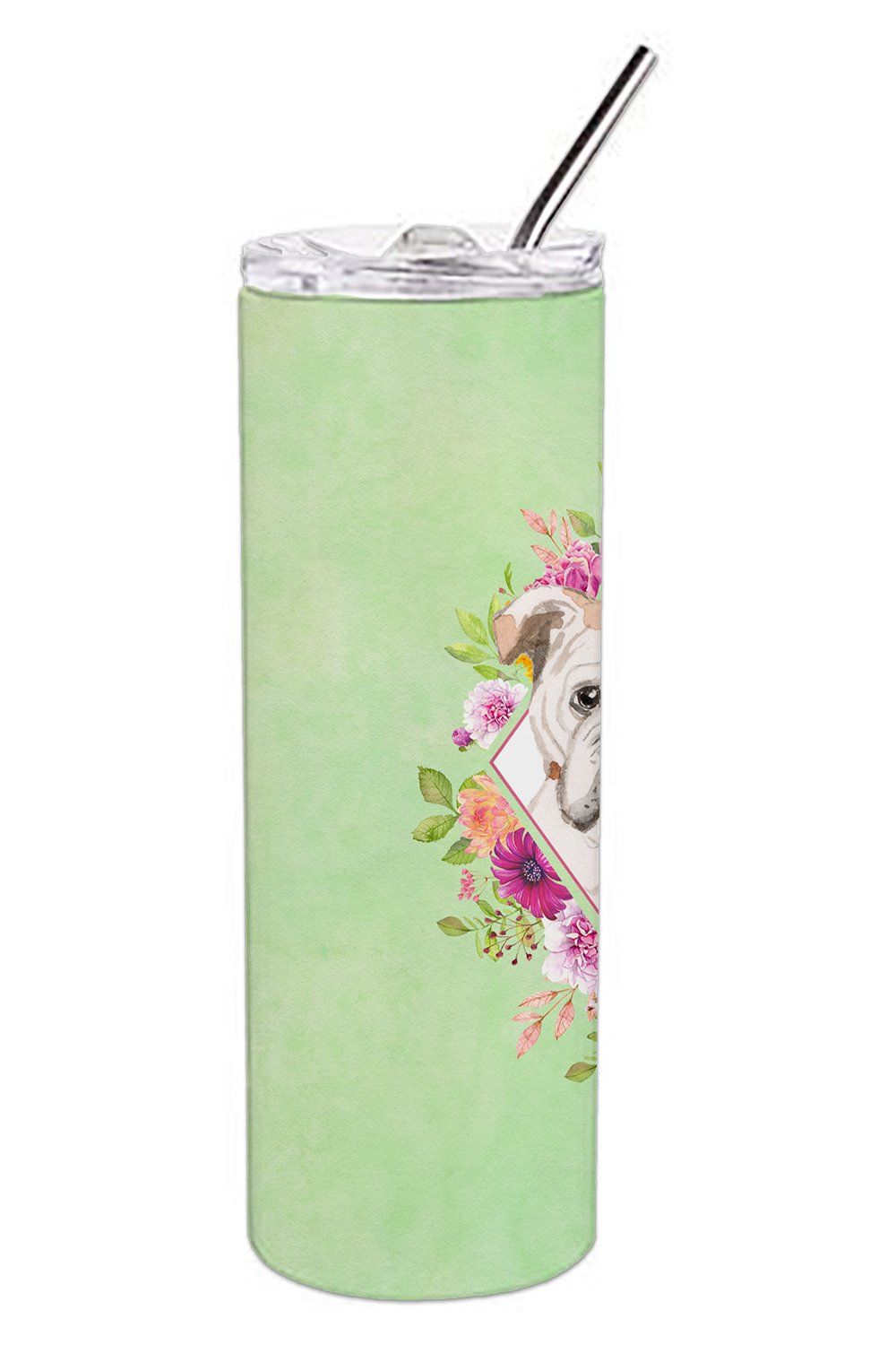 English Bulldog Green Flowers Double Walled Stainless Steel 20 oz Skinny Tumbler CK4400TBL20 by Caroline's Treasures