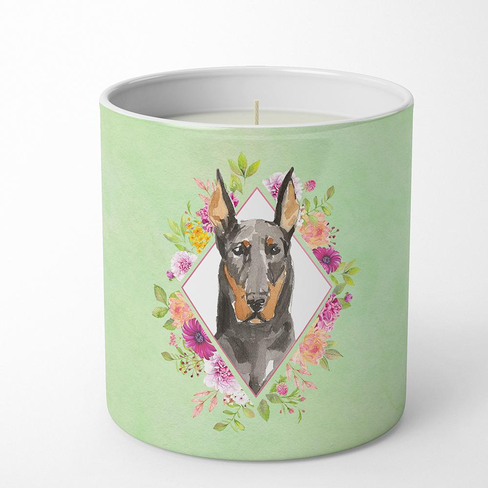 Doberman Pinsher Green Flowers 10 oz Decorative Soy Candle CK4401CDL by Caroline's Treasures