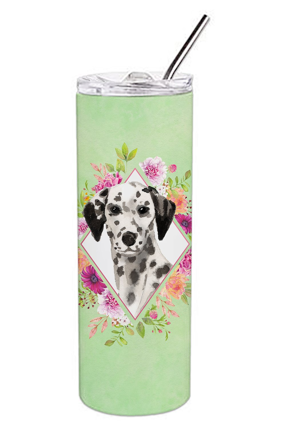 Dalmatian Green Flowers Double Walled Stainless Steel 20 oz Skinny Tumbler CK4402TBL20 by Caroline's Treasures