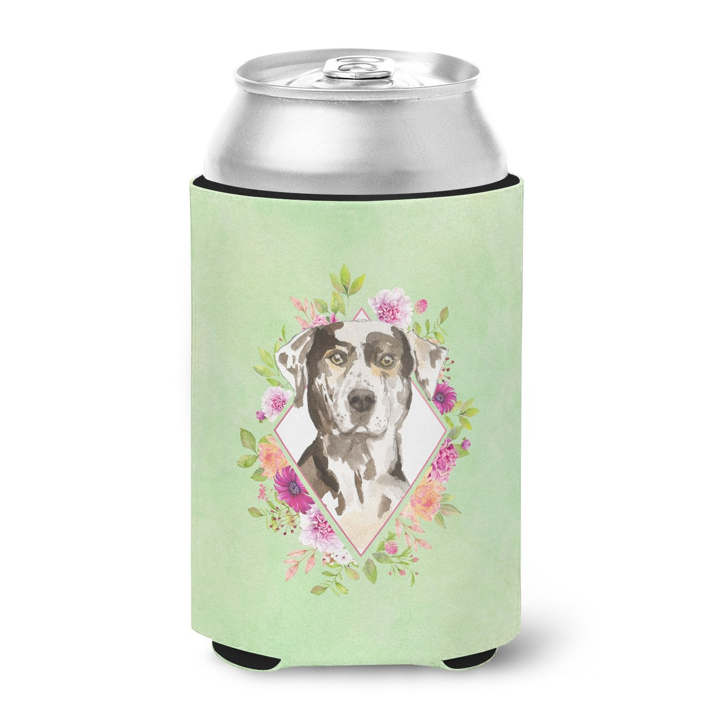 Catahoula Leopard Dog Green Flowers Can or Bottle Hugger CK4409CC by Caroline's Treasures