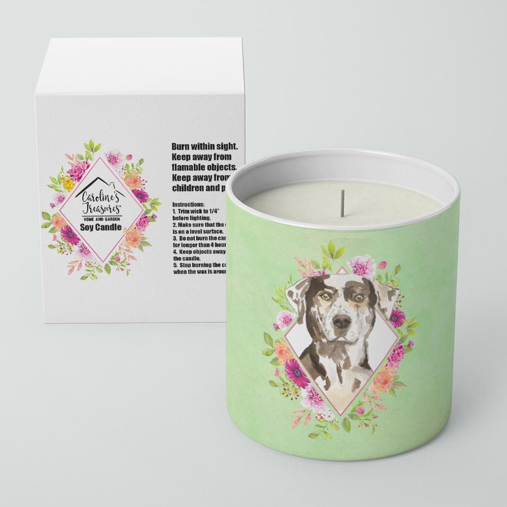 Buy this Catahoula Leopard Dog Green Flowers 10 oz Decorative Soy Candle CK4409CDL