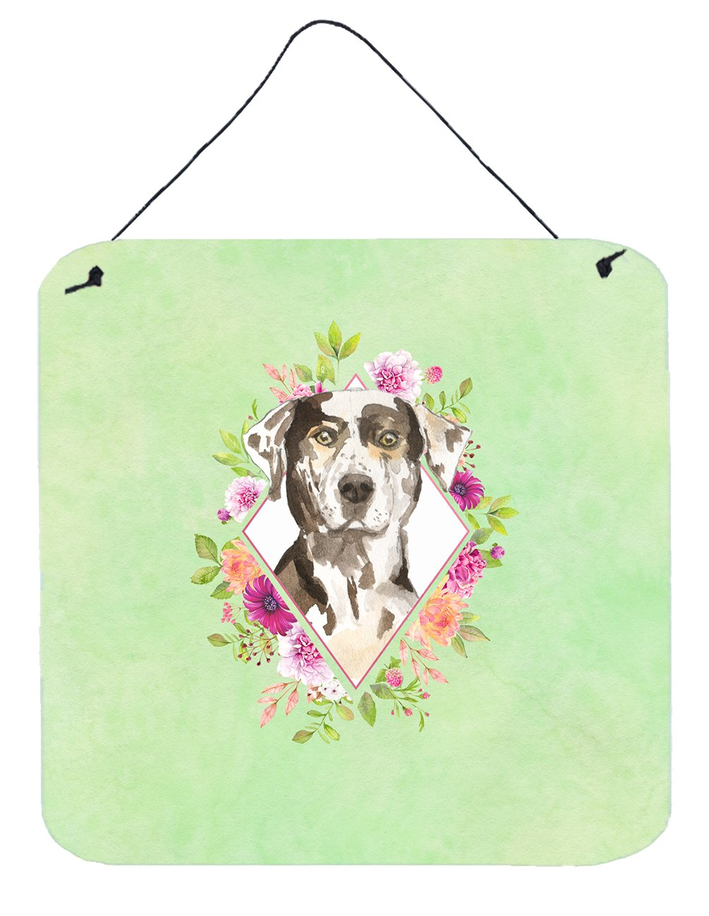 Buy this Catahoula Leopard Dog Green Flowers Wall or Door Hanging Prints CK4409DS66