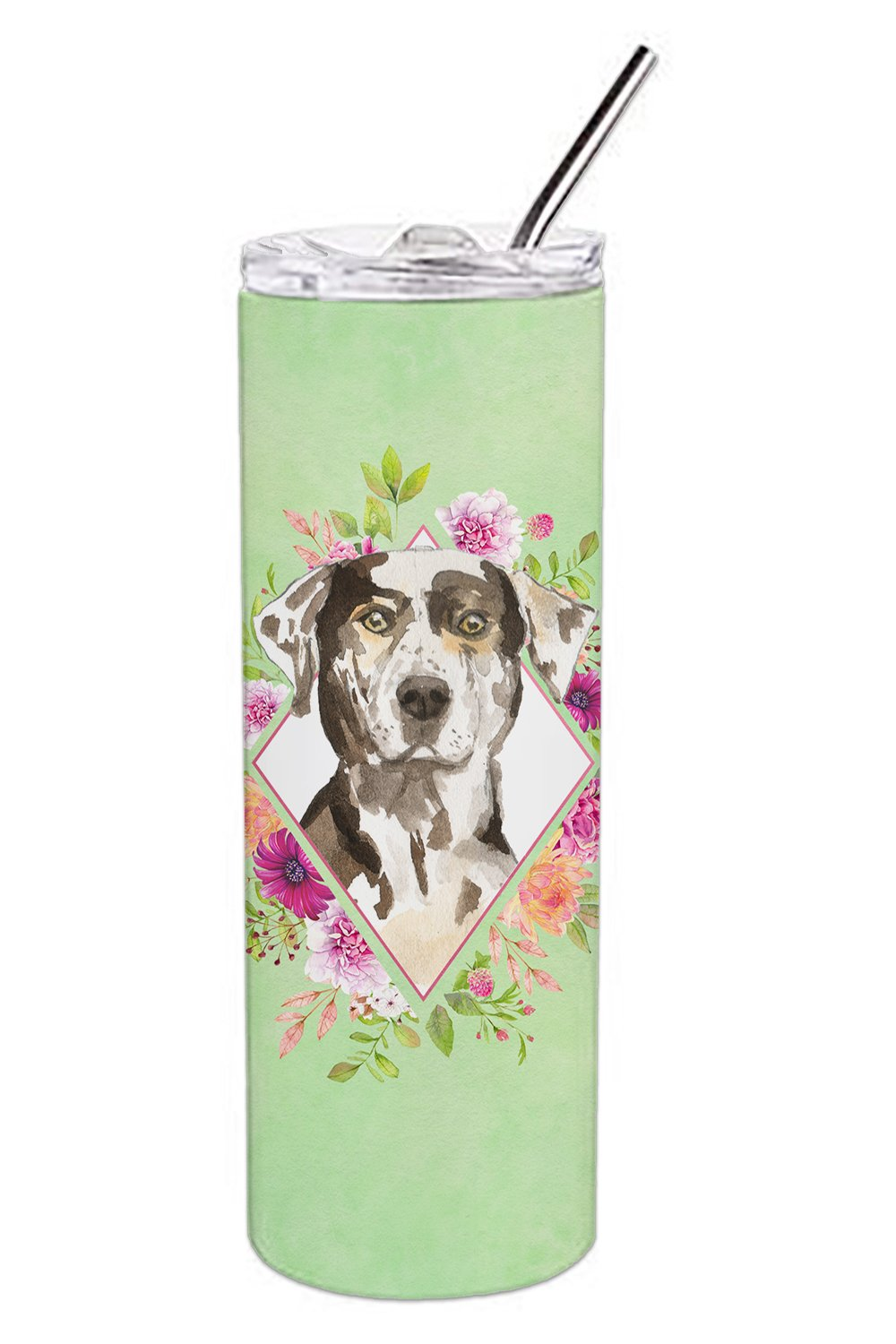 Catahoula Leopard Dog Green Flowers Double Walled Stainless Steel 20 oz Skinny Tumbler CK4409TBL20 by Caroline's Treasures
