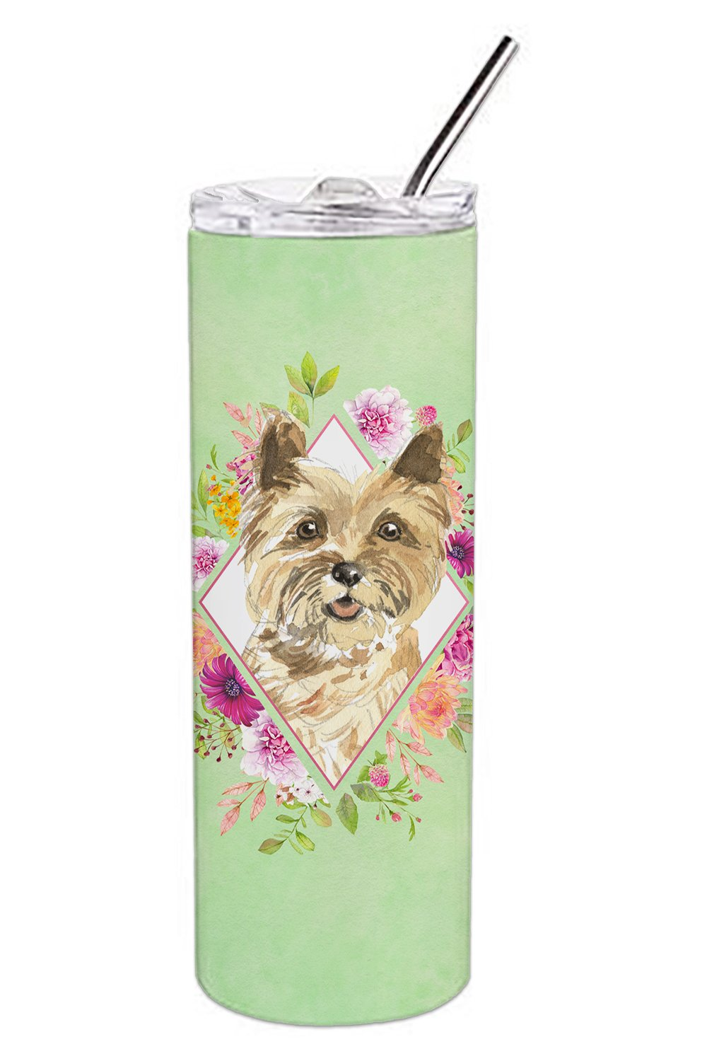 Buy this Cairn Terrier Green Flowers Double Walled Stainless Steel 20 oz Skinny Tumbler CK4410TBL20