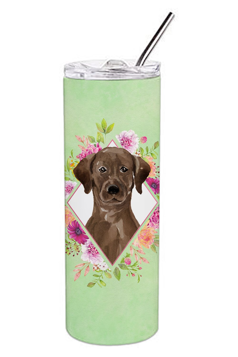 Buy this Chocolate Labrador Green Flowers Double Walled Stainless Steel 20 oz Skinny Tumbler CK4411TBL20