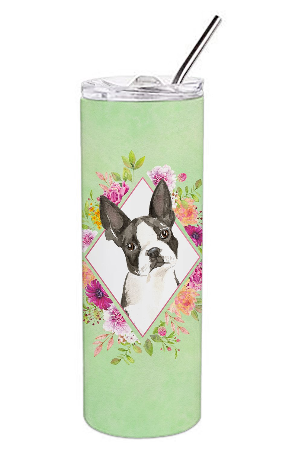 Boston Terrier Green Flowers Double Walled Stainless Steel 20 oz Skinny Tumbler CK4417TBL20 by Caroline's Treasures