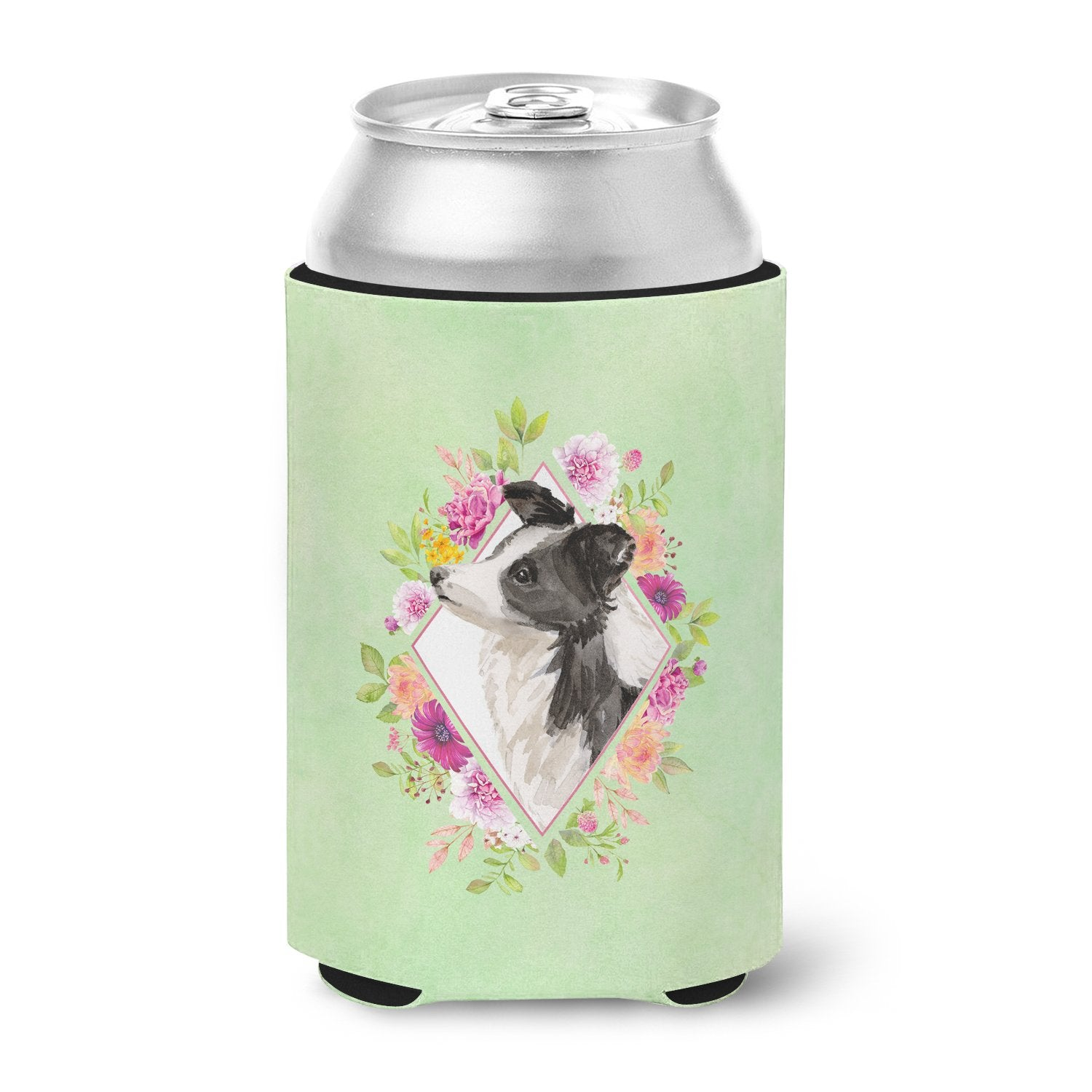Border Collie Green Flowers Can or Bottle Hugger CK4418CC by Caroline's Treasures