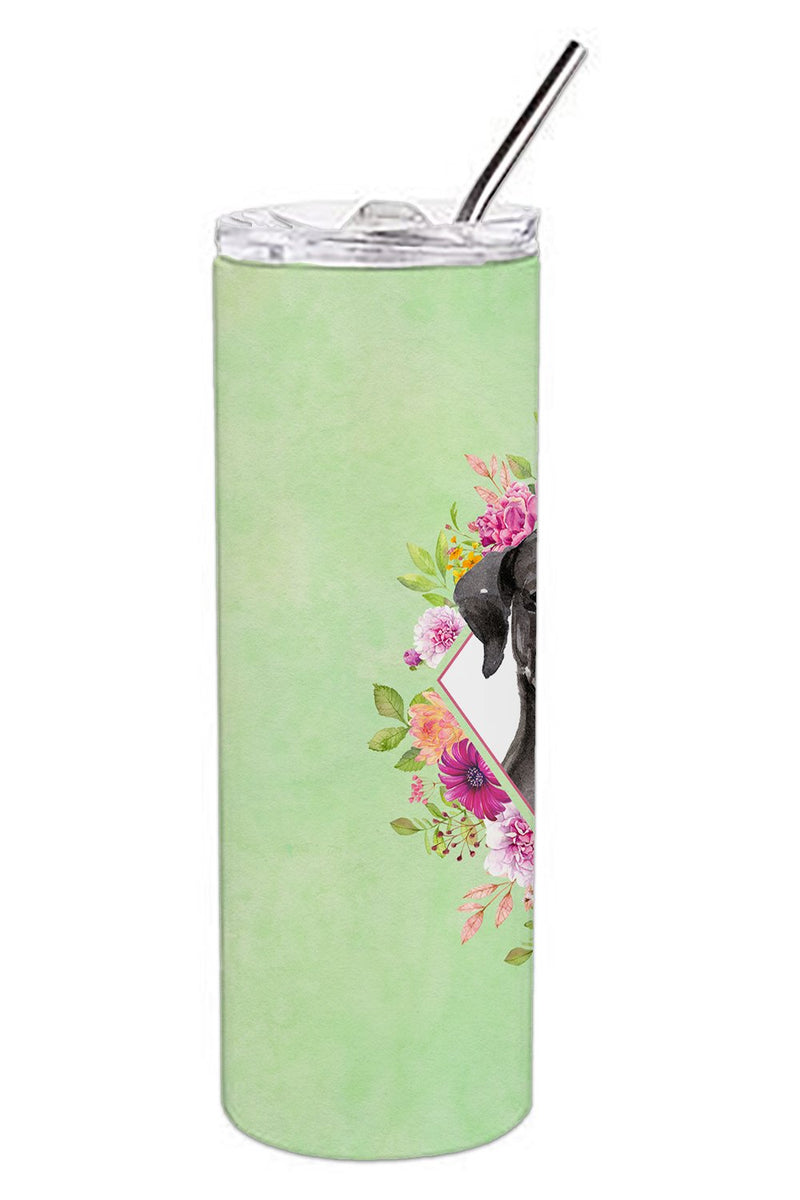 Buy this Black Labrador Green Flowers Double Walled Stainless Steel 20 oz Skinny Tumbler CK4421TBL20