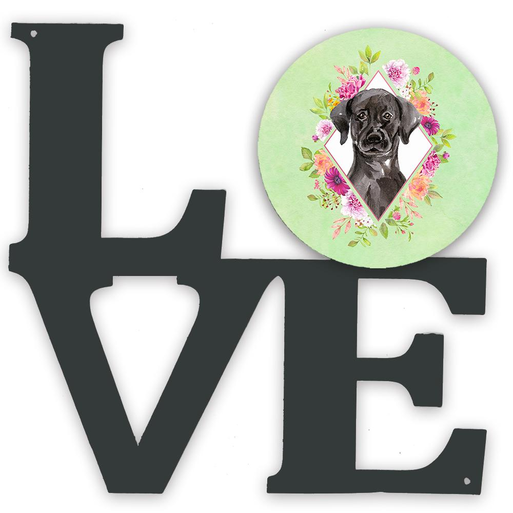 Buy this Black Labrador Green Flowers Metal Wall Artwork LOVE CK4421WALV