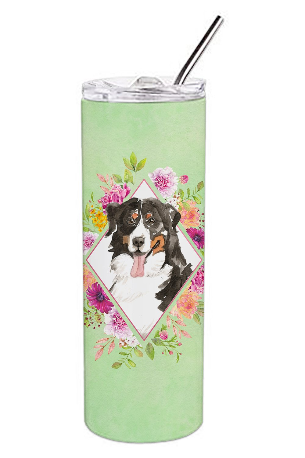 Bernese Mountain Dog Green Flowers Double Walled Stainless Steel 20 oz Skinny Tumbler CK4424TBL20 by Caroline's Treasures
