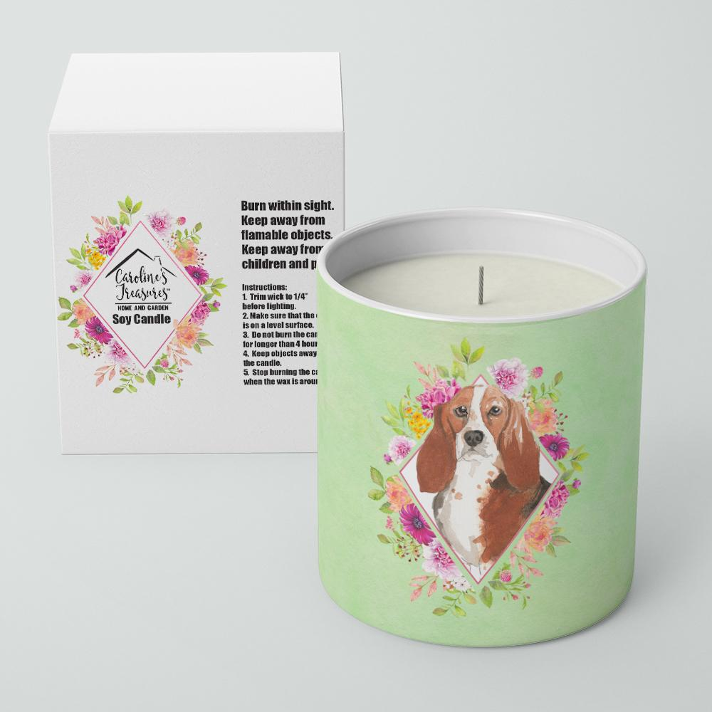 Basset Hound Green Flowers 10 oz Decorative Soy Candle CK4426CDL by Caroline's Treasures