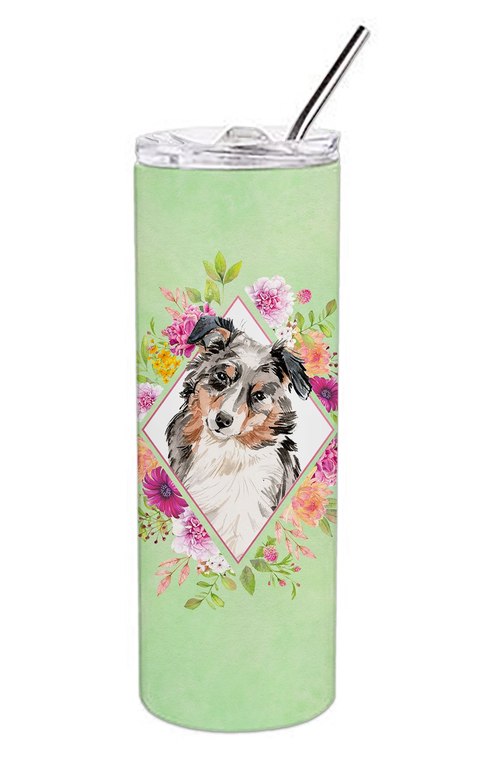 Australian Shepherd Green Flowers Double Walled Stainless Steel 20 oz Skinny Tumbler CK4427TBL20 by Caroline's Treasures